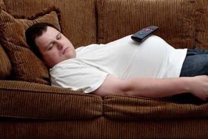 Seorang pemalas sedang tidur di sofa.